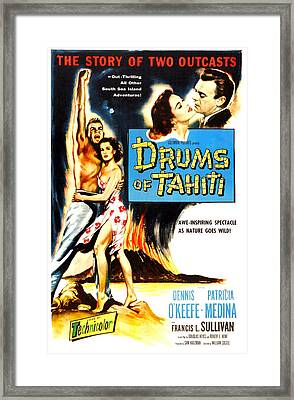 Drums Of Tahiti, Us Poster, From Left Framed Print by Everett