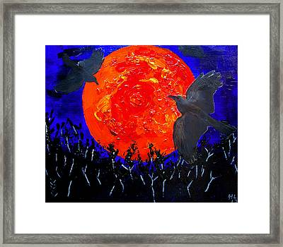 Dry Brush Painting Effcect Blood Moon Rising Framed Print by Andy Lawless