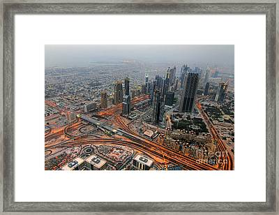 Duabi From Above Framed Print by Lars Ruecker