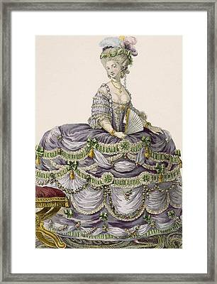 Duchess Evening Gown, Engraved Framed Print by Pierre Thomas Le Clerc