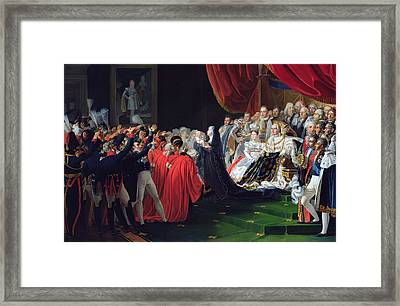 Duchess Of Berry Presenting The Duke Of Bordeaux To The People And The Army Framed Print by Charles Nicolas Raphael Lafond