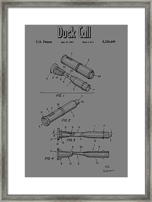 Duck Call Patent Drawing Framed Print by Dan Sproul