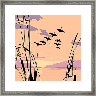 Ducks Flying Over The Lake Abstract Sunset - Square Format Framed Print by Walt Curlee