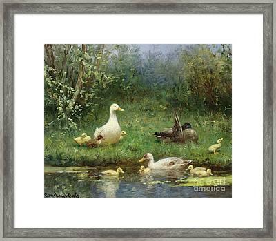 Ducks On A Riverbank Framed Print by David Adolph Constant Artz