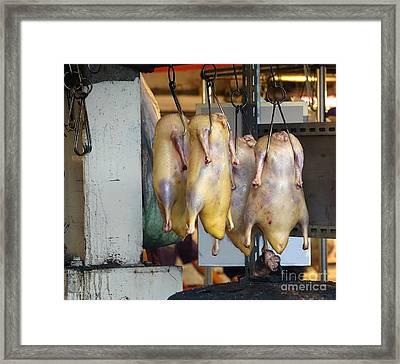 Ducks Ready For Roasting Framed Print by Yali Shi