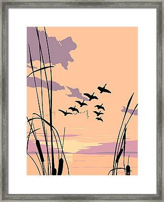Abstract Ducks Sunset 1980s Acrylic Ducks Sunset Large 1980s Pop Art Nouveau Painting Retro      Framed Print by Walt Curlee