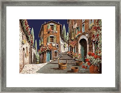 Due Strade Al Mattino Framed Print by Guido Borelli