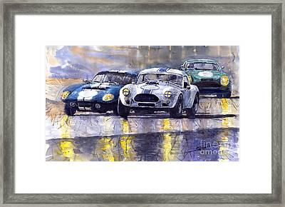 Duel Ac Cobra And Shelby Daytona Coupe 1965 Framed Print by Yuriy  Shevchuk