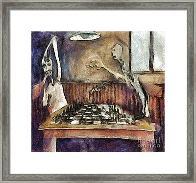 Duel Of The Chess Players Framed Print by Michal Boubin