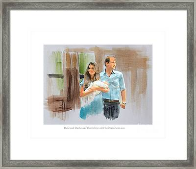 Duke And Duchess Of Cambridge With Their New Son Framed Print by Roger Lighterness