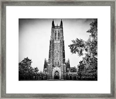 Duke Chapel In Black And White Framed Print by Emily Kay