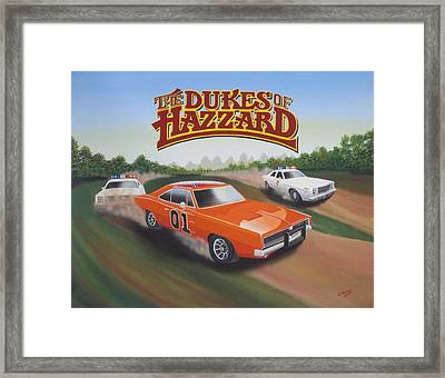 Dukes Of Hazzard Chase Framed Print by Gregory Murray