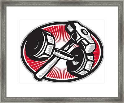 Dumbbell And Sledgehammer Retro Framed Print by Aloysius Patrimonio