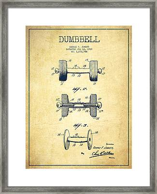Dumbbell Patent Drawing From 1927 - Vintage Framed Print by Aged Pixel