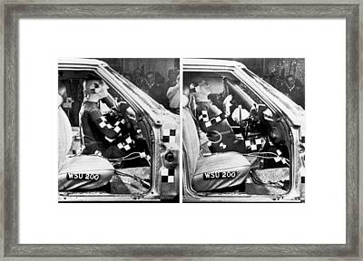 Dummy With Air Bag Malfunction Framed Print by Underwood Archives