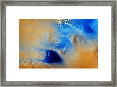 Dunes And Wind Streaks In Arabia Terra Framed Print by Celestial Images
