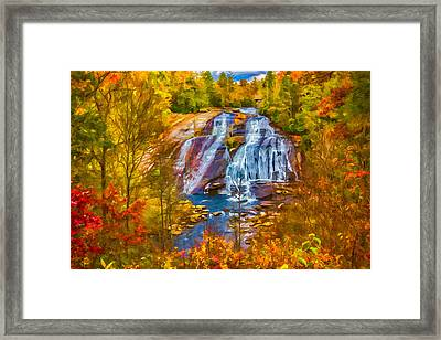 Dupont Forest High Falls In Autumn Framed Print by John Haldane