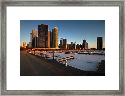 Dusable Harbor In Chicago At Sunrise Framed Print by Sven Brogren