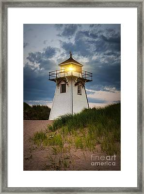 Dusk At Covehead Harbour Lighthouse Framed Print by Elena Elisseeva