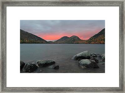 Dusk At Jordan Pond And The Bubbles Framed Print by Juergen Roth