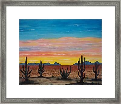 Dusk At Sonoran Desert Framed Print by Jorge Cristopulos