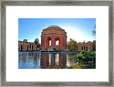 Dusk At The Palace Of Fine Arts In The Marina District Of San Francisco Framed Print by Jim Fitzpatrick