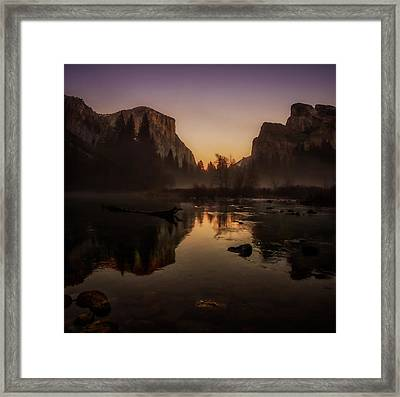 Dusk At Valley View Yosemite National Park Framed Print by Scott McGuire