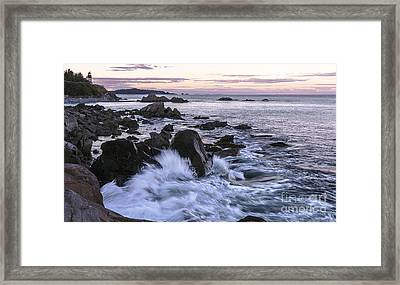 Dusk At West Quoddy Head Light Framed Print by Marty Saccone