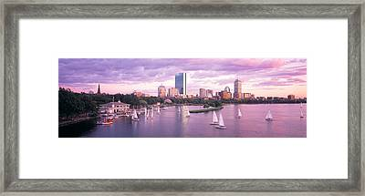 Dusk Boston Ma Framed Print by Panoramic Images