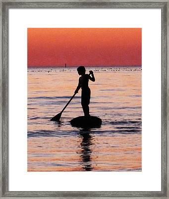 Dusk Float - Sunset Art Framed Print by Sharon Cummings