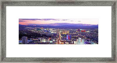 Dusk Las Vegas Nv Usa Framed Print by Panoramic Images