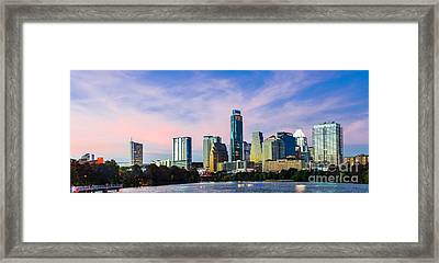 Dusk Over Austin Panorama Framed Print by Tod and Cynthia Grubbs