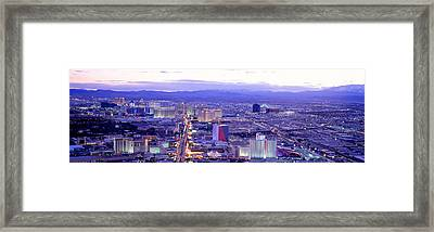 Dusk The Strip Las Vegas Nv Usa Framed Print by Panoramic Images