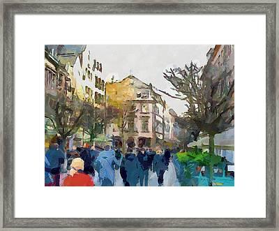 Dusseldorf Old Town Street 4 Framed Print by Yury Malkov
