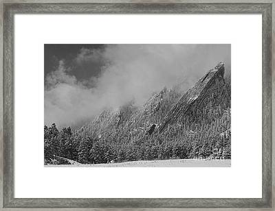 Dusted Flatirons Low Clouds Boulder Colorado Bw Framed Print by James BO  Insogna