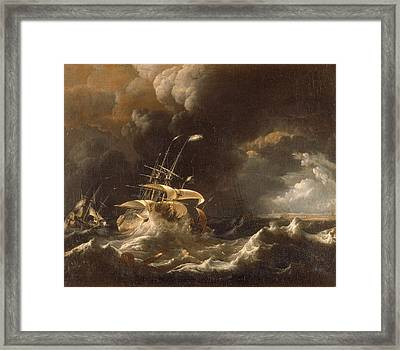Dutch Merchant . Ships In A Storm Framed Print by Ludolf Bakhuizen