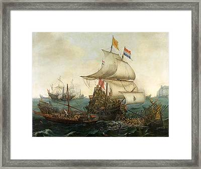 Dutch Ships Ramming Spanish Galleys Off The English Coast Framed Print by Hendrik Cornelisz Vroom