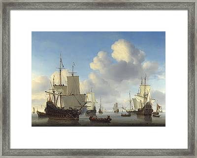Dutch War Ships On Calm Seas  C. 1665 Framed Print by Daniel Hagerman