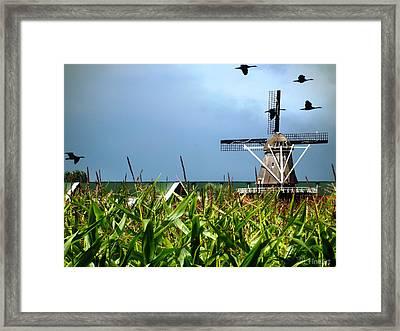 Dutch Windmill In Summer Framed Print by Yvon van der Wijk