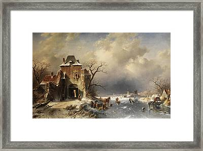 Dutch Winter Landscape Framed Print by Charles Leickert