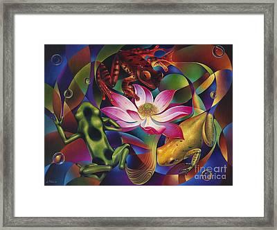 Dynamic Frogs Framed Print by Ricardo Chavez-Mendez