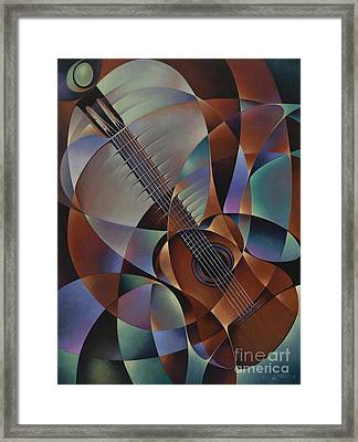 Dynamic Guitar Framed Print by Ricardo Chavez-Mendez