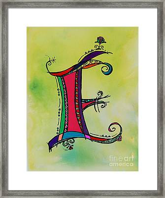 'e' Monogram Framed Print by Joyce Auteri