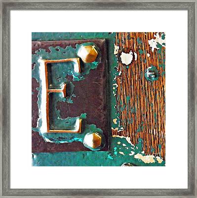 E Framed Print by Sarah Loft