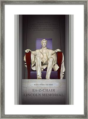 Ea-z-chair Lincoln Memorial 2 Framed Print by Mike McGlothlen
