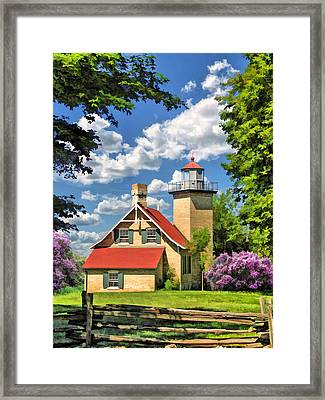 Eagle Bluff Lighthouse Framed Print by Christopher Arndt
