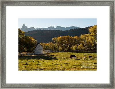 Eagle Crags Above Two Feathers Ranch Rockville Utah Framed Print by Robert Ford