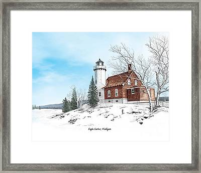 Eagle Harbor Lighthouse Titled Framed Print by Darren Kopecky