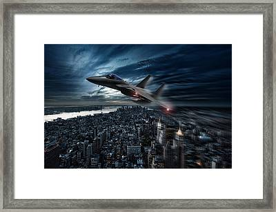 Eagle Over New York Framed Print by Peter Chilelli