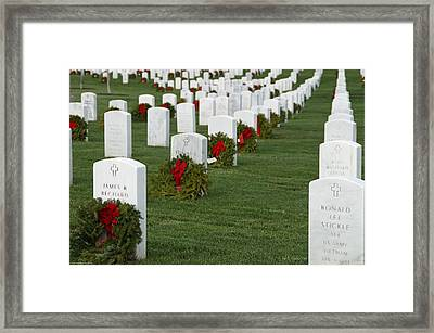 Eagle Point National Cemetery At Christmas Framed Print by Mick Anderson